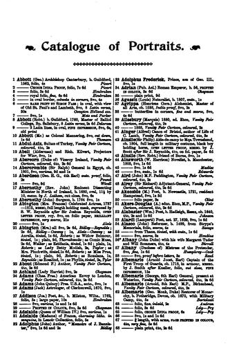 Catalogue of engraved portraits of noted personages, principally connected with the history, literature, arts and genealogy of Great Britain.