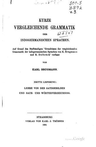 Kurze vergleichende Grammatik der indogermanischen Sprachen.