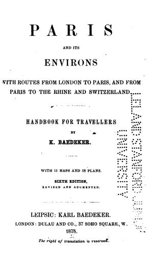 Paris and its environs by Karl Baedeker (Firm)