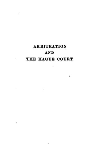 Arbitration and the Hague court