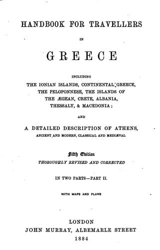 Handbook for travellers in Greece by John Murray (Firm)