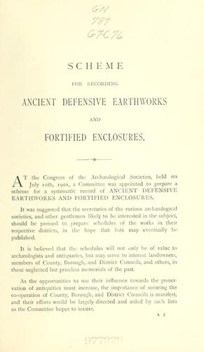 Scheme for recording ancient defensive earthworks and fortified enclosures by Congress of Archaeological Societies in Union with the Society of Antiquaries of London.