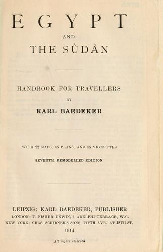 Egypt and the Su da n by Karl Baedeker (Firm)