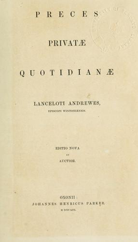Preces privatae quotidianae by Lancelot Andrewes