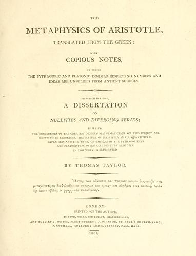 The metaphysics of Aristotle by Aristotle