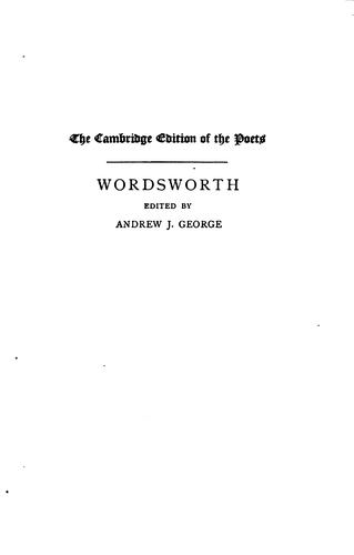 The complete poetical works of William Wordsworth. by William Wordsworth