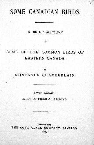 Some Canadian birds by Montague Chamberlain