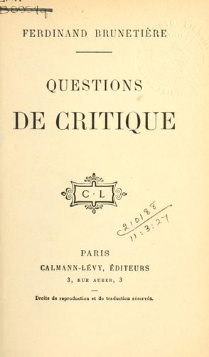 Questions de critique by Ferdinand Brunetière