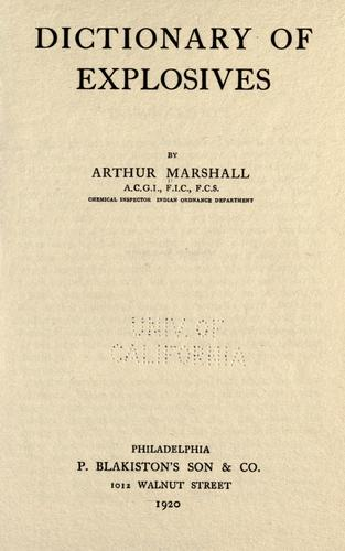 Dictionary of explosives by Arthur Marshall