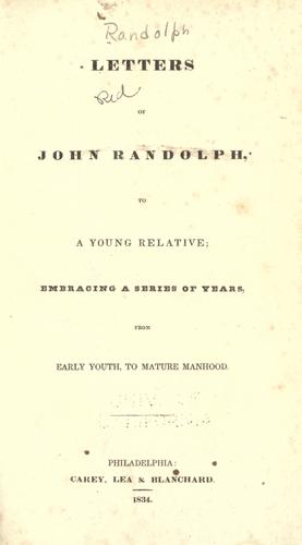 Letters of John Randolph, to a young relative