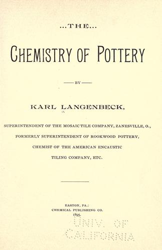 The chemistry of pottery by Karl Langenbeck