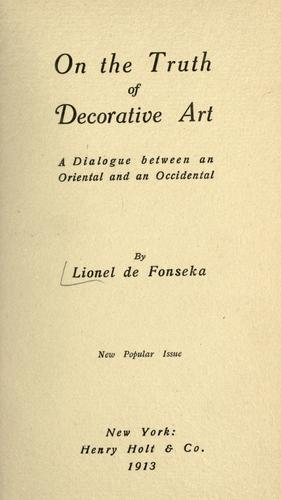 On the truth of decorative art by Lionel de Fonseka