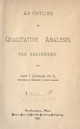 An outline of qualitative analysis by John Tappan Stoddard