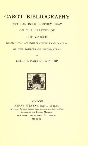 Cabot bibliography by George Parker Winship