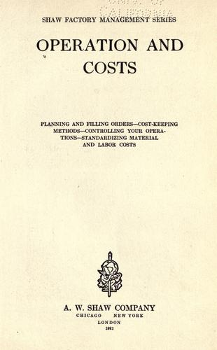 Operation and costs by