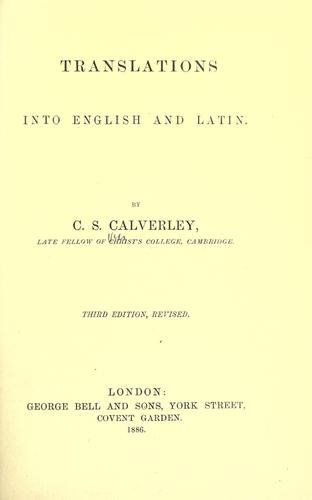 Translation into English and Latin by Calverley, Charles Stuart