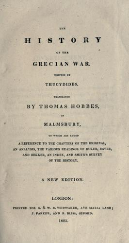 The history of the Grecian war by Thucydides