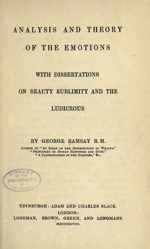 Analysis and theory of the emotions by Ramsay, George