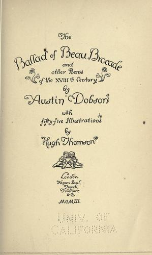 The ballad of Beau Brocade by Dobson, Austin
