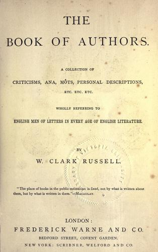 The book of authors by William Clark Russell