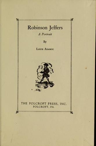 Robinson Jeffers by Louis Adamic