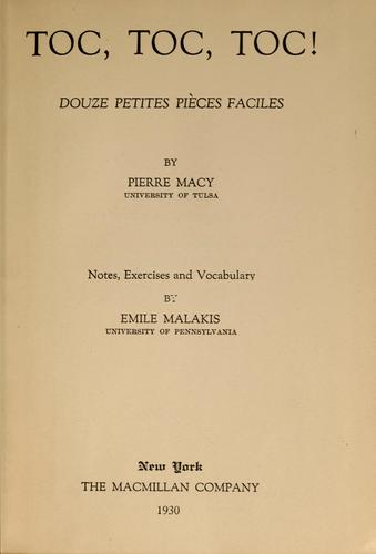 Toc, toc, toc! by Pierre Macy