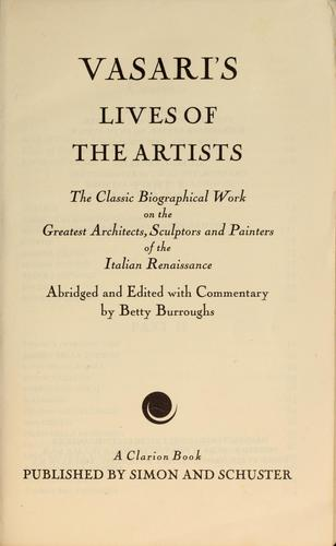 Vasari's Lives of the artists by Giorgio Vasari