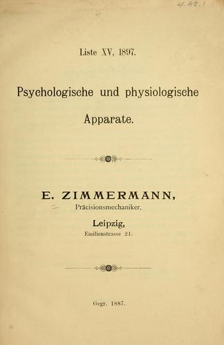 Liste XV, 1897 by E. Zimmermann (Firm)