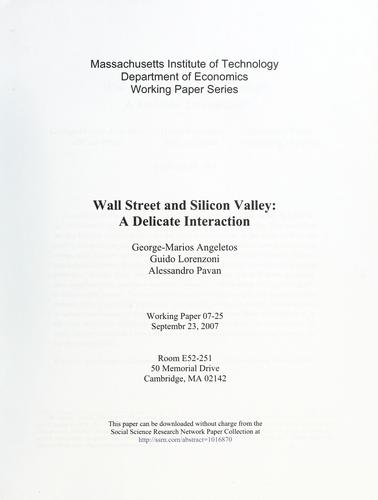 Wall Street and Silicon Valley by Marios Angeletos