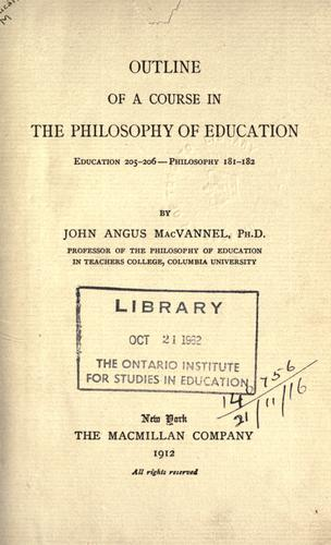 Outline of a course in the philosophy of education