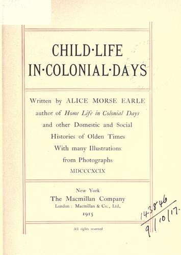 Child-life in colonial days