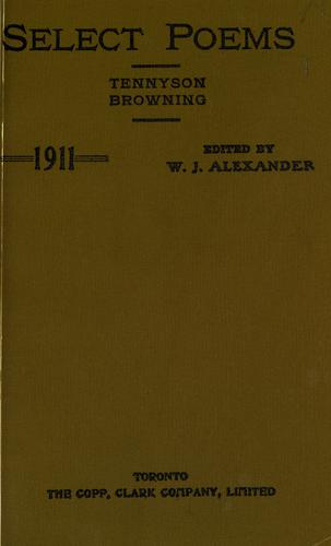 Select poems, prescribed for the junior matriculation and junior teachers' examinations, 1911 by