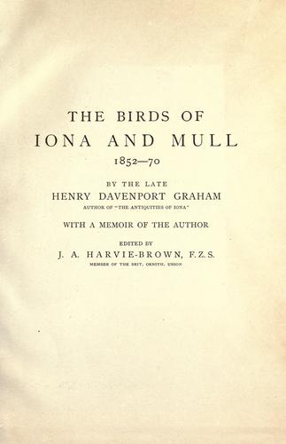 The birds of Iona & Mull by Henry Davenport Graham