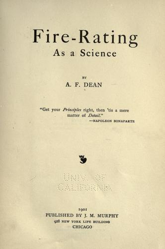 Fire-rating as a science by A. F. Dean