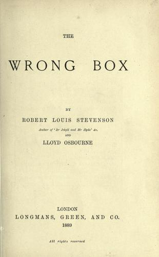 The  wrong box by Robert Louis Stevenson