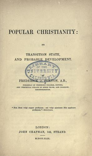 Popular Christianity by Frederick J. Foxton