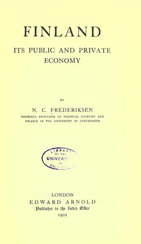 Finland; Its Public and Private Economy by Niels Christian Frederiksen