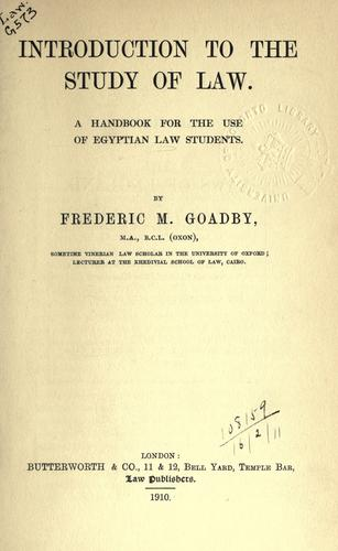 Introduction to the study of law by Frederic Maurice Goadby