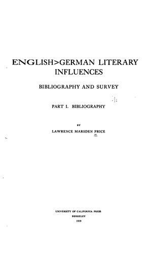 English-German literary influences
