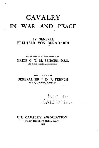 Cavalry in war and peace by Friedrich von Bernhardi