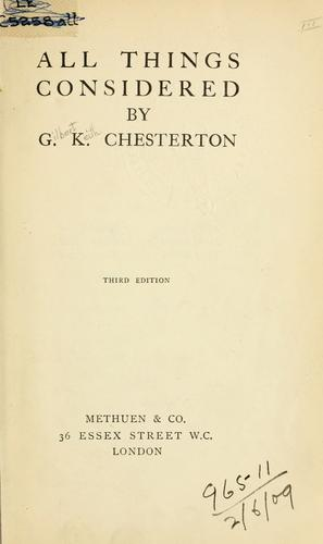 All things considered. by G. K. Chesterton