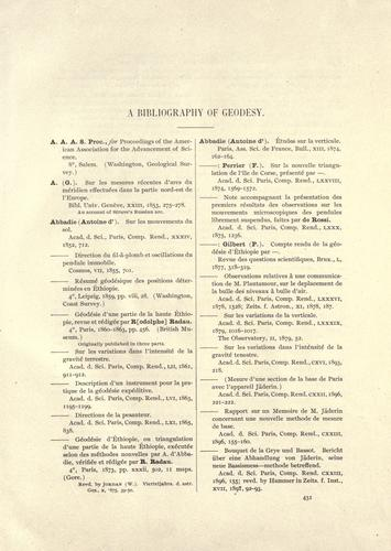 A bibliography of geodesy.