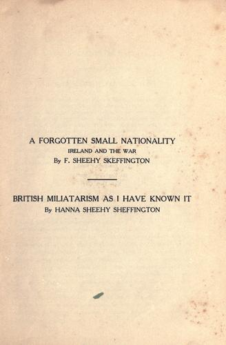 A forgotten small nationality by Francis Sheehy-Skeffington